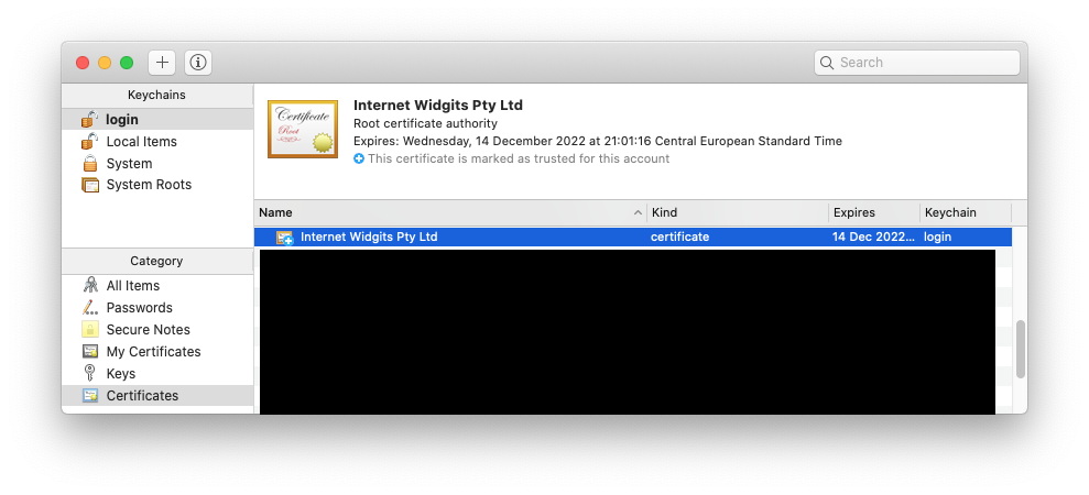 Keychain: Trusted certificate in the list